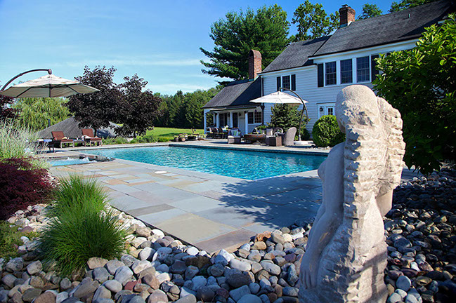 Natural Blue stone pool deck