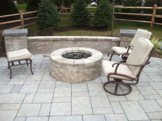 Fire Pit, Sitting Wall, Patio