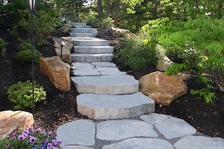 natural stepping stone walkway , hopewell, nj
