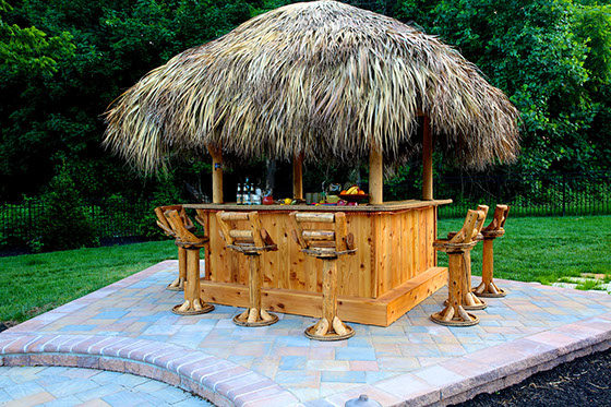 tiki bar with paver patio