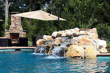 Boulder waterfall water feature.