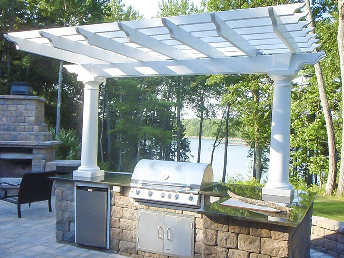 fiberglass pergola with kitchen