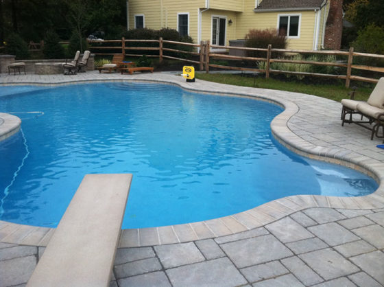 In ground pool and patio